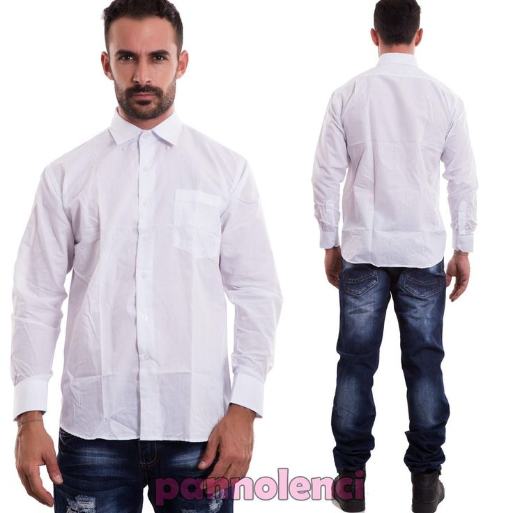 Camicia uomo casual basic maglia slim maniche lunghe classica nuova NJ001 in Abbigliamento e accessori, Uomo: abbigliamento, Camicie casual e maglie   eBay