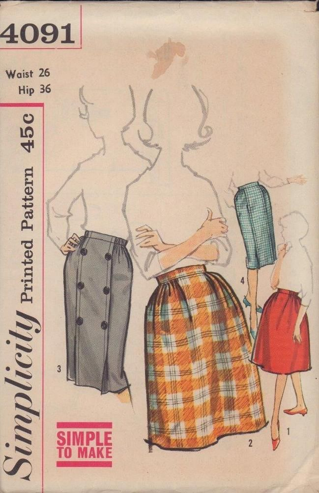 Vintage Simplicity Sewing Pattern 4091 Set of Skirts Full Straight 1960's sz 36 #Simplicity