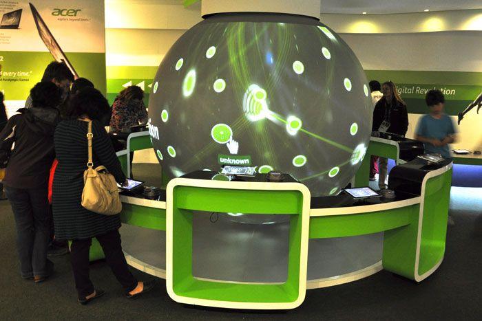 Globe as a interactive booth concept ref 3d showcase for Tisch interaction design