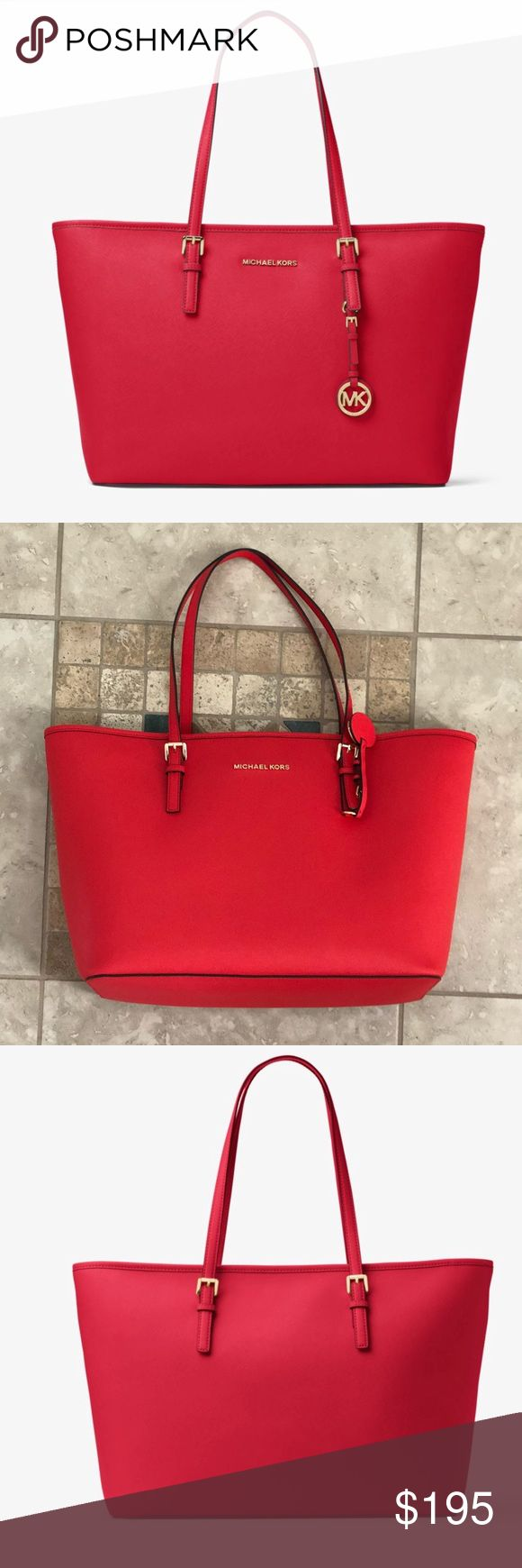 NWT Michael Kors Saffiano Leather Tote Red, L! NWT Michael Kors Saffiano Leather Tote Red. Large tote-style shoulder bag made of textured leather. Dual buckled shoulder s raps.Signature logo hardware and MK circle logo charm.Flat base to provide upright structure.back-wall zip pocket and multifunctional slip pockets.Monogram lining.Imported. Michael Kors Bags Totes
