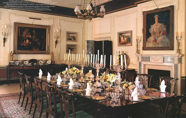 Clarence House dining room as designed by Robert Kime.