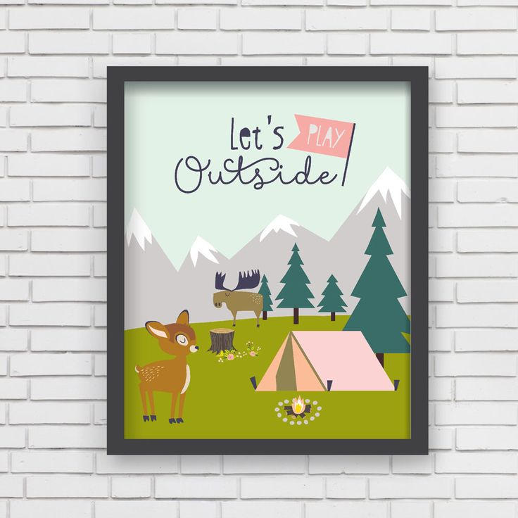 Letu0027s Play Outside Camping Home Decor Nursery Wall Art Print   Letu0027s Play  Outside Print
