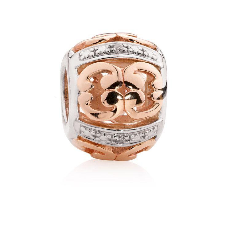 Diamond set, rose gold  sterling silver charm (11947844) #rosegold #emmaandroe