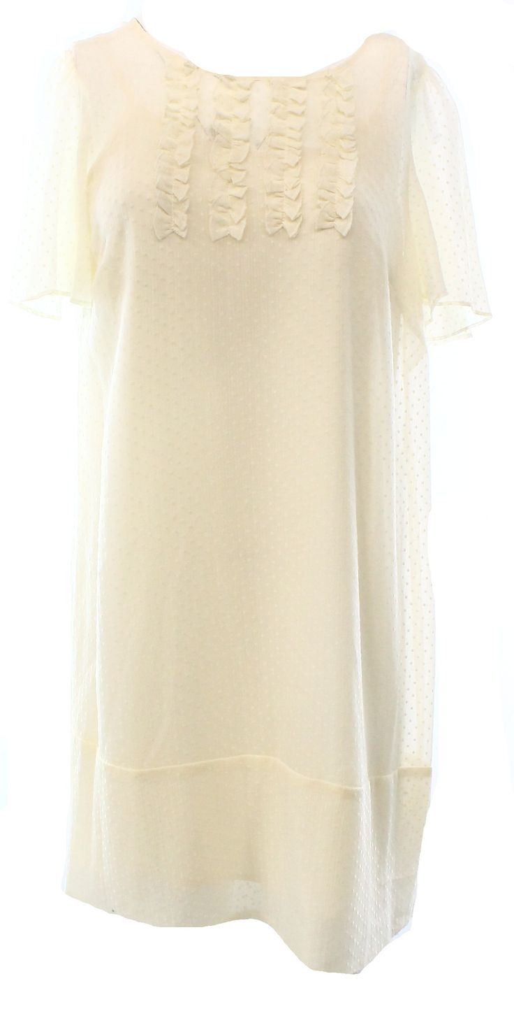 BCBGeneration NEW White Ivory Women's Small S Ruffle Shift Tunic Dress $178