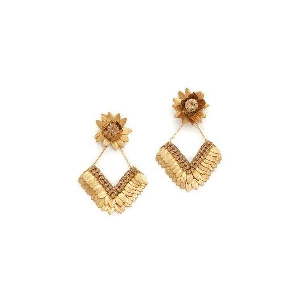 Deepa Gurnani Deepa By Deepa Gurnani Amanda Earrings ($100) ❤ liked on Polyvore featuring jewelry, earrings, gold, chain earrings, earring jewelry, deepa gurnani, deepa gurnani earrings and leather earrings