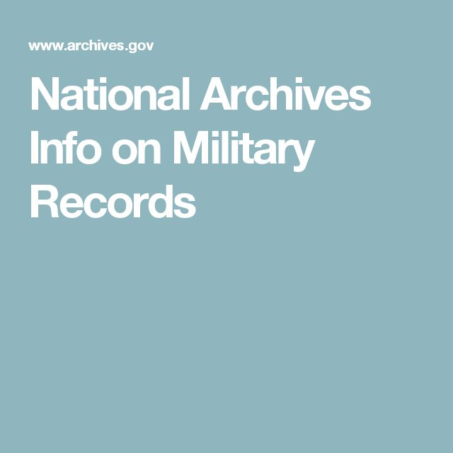 National Archives Info on Military Records
