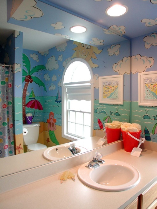 Kids Beach Bathroom/ Mogauro's Beach Bath by memehill  http://www.roomzaar.com/rate-my-space/Bathrooms/Kids-Beach-bathroom/detail.esi?oid=6291197