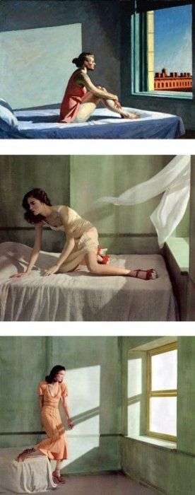 Only the first picture is a painting by Edward Hopper. The others are fashion photos inspired by Hopper..