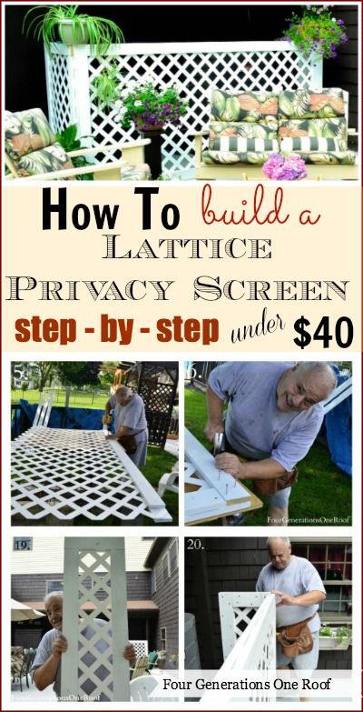 How to build a lattice privacy screen on a budget, Step by step {tutorial} @Mandy Bryant Bryant Bryant Dewey Generations One Roof