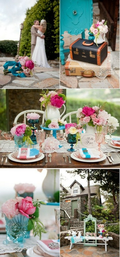 pink and turquoise wedding pink-wedding
