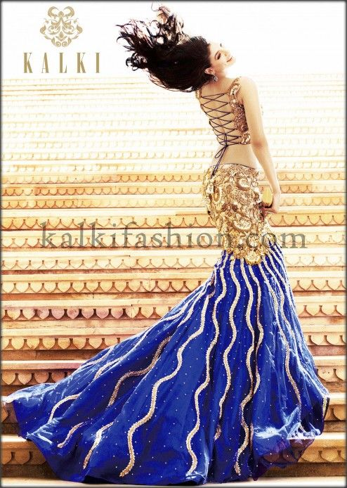 Navy blue mermaid lehenga with antique embroidery by Kalki
