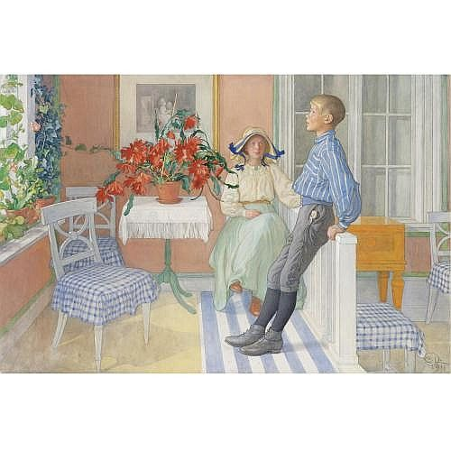 Carl Larsson Swedish 1853-1919 , Syskon (Siblings), signed with monogram and dated C.L. / 1911 l.r. watercolour, gouache and charcoal on paper