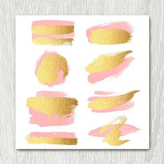 Gold Brush Strokes Clipart  blush & gold metallic by ItGirlDigital