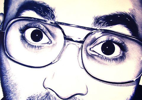 Amazing blue Bic pen drawings by Anthony Caserio
