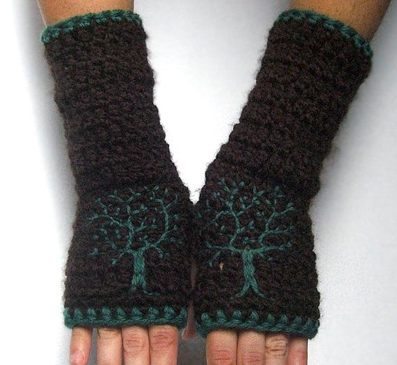 Arm Warmers with Tree Design  Dark Brown and Teal  by LoveFuzz, $40.00