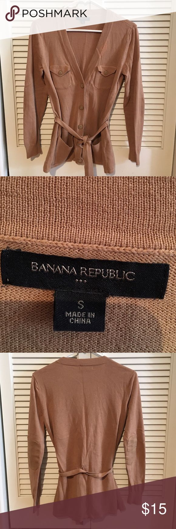 Banana Republic Camel cardigan with belt Great sweater in great condition except for small bleach stain on front collar Banana Republic Sweaters Cardigans