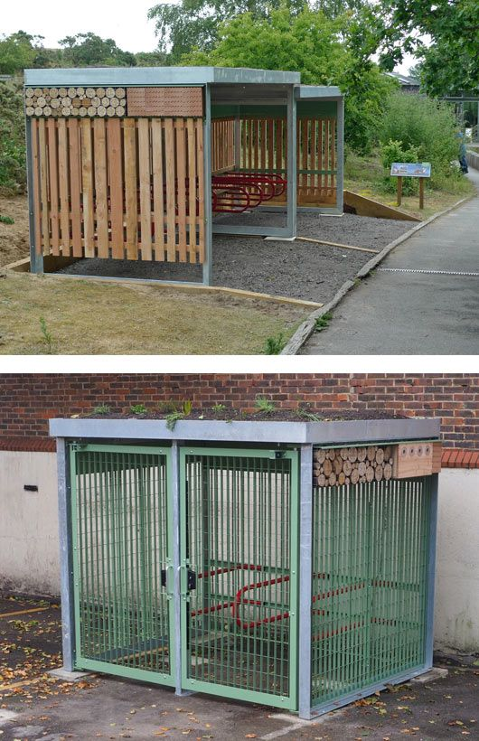 Green Roof on Cycle Shelter Plus wildlife habitats included in the roof
