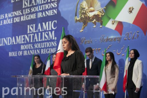 A women gives a speech during a conference on islamic fondamentalism and the role of Iran held in Paris, capital of France, on February 7, 2015, for the 36th anniversary of the Islamic revolution in Iran