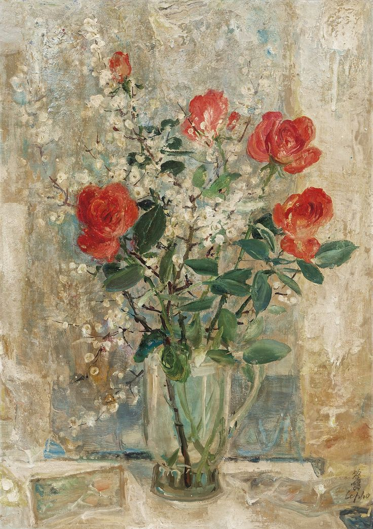 https://flic.kr/p/qcGt99 | Le Pho (1907-2001) -  ROSES - Oil on silk laid on board, 65 x 46 cm