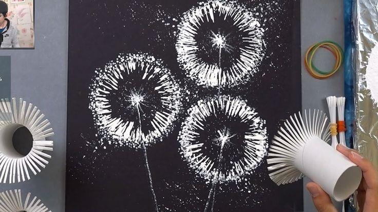Toilet Paper Rolls Dandelion Q Tip Painting Techni…
