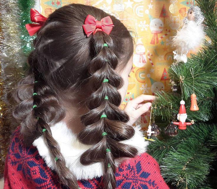 Новогодняя прическа 《Елки》. Объемные французские косы без плетения, на резинках https://www.youtube.com/watch?v=6hNnqaHevWg