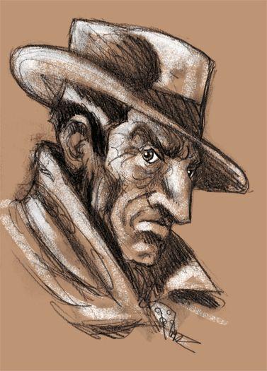 """""""Isidore Bemporad con cappello"""". grafite, gessetti su carta, fx. 2011"""