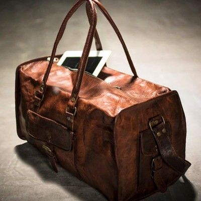 """Leather Duffel Bag - 21"""" Blue Lining Square - $229.00 #9thandelm"""