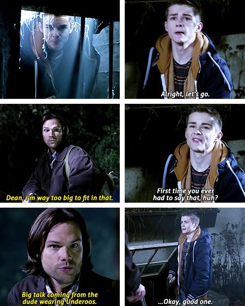 [gifset] 10x12 About A Boy #SPN #TeenDean #Sam I had to google what underoos were and then I just died!
