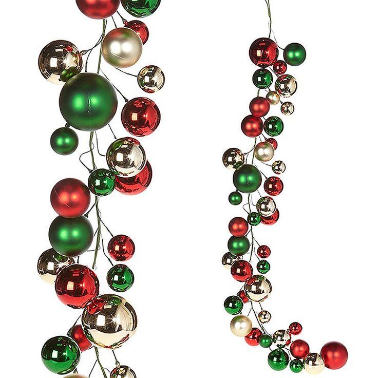 Raz 4 Red Green And Silver Ball Christmas Garland G3832768 Christmas Garland Christmas Garland For Sale Christmas Bulbs