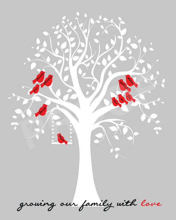 Red Family Tree With Names  - ANY theme or color scheme. Edmonton Alberta Canada