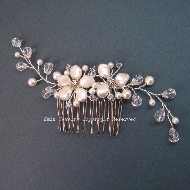 Ivory Swarovski Pearl Floral Bridal Hair Comb -  Cream Silver Wedding Hair Accessories for Bride. $48.00, via Etsy.