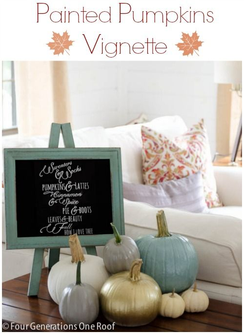 How to paint pumpkins with chalk paint + create a vignette with using a cute chalk board from HomeGoods @4gens1roof