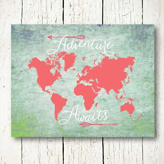 mint and coral world map digital download, adventure awaits, travel quote world map poster printable nursery world map wall art decor jpg