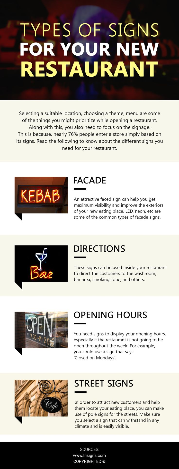 You can choose various sign types for your restaurant such as facade signs, location signs, directional signs, street signs, etc. from reputed manufacturers.