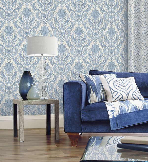 Victorian Vintage Light Blue White Paisley Wallpaper Textured Traditional DIY | Home & Garden, Home Improvement, Building & Hardware | eBay!