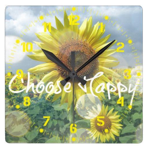 Choose Happy Sunflower Clock