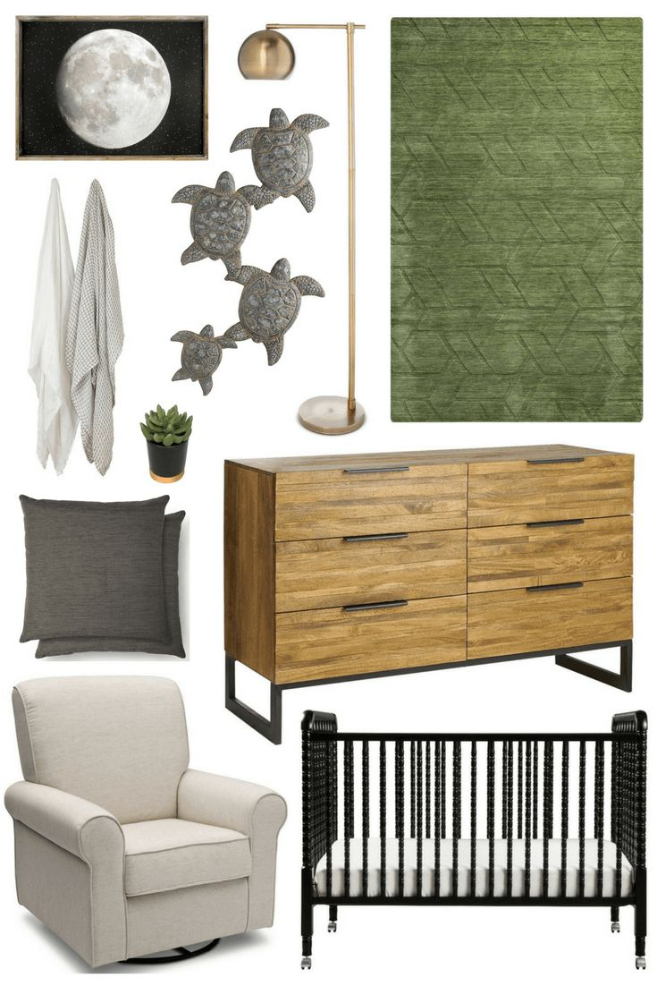 Nursery Inspiration: Green & Black, turtle wall decor, natural wood dresser, baby boy nursery, turtle nursery, moon wall art