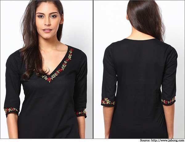 Floral-Neck-Embroidered-Kurta-Churidar Neck Designs