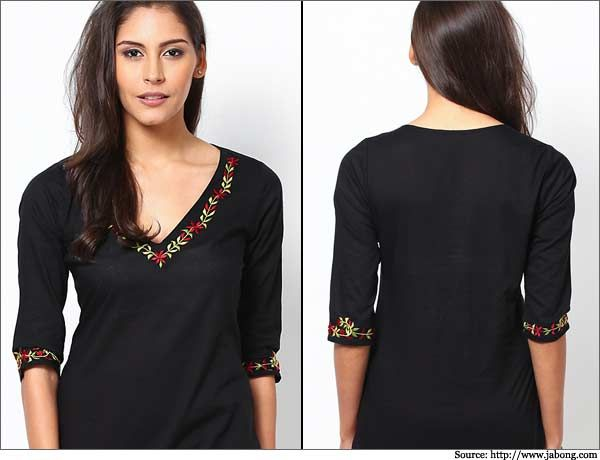 Floral-Neck-Embroidered-Kurta-Churidar Neck Designs