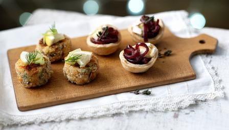 Red onion and Brie Tartlets... it is gorgeous canapes like these that make me forgive my vego friends, as i search for vegetarian options!