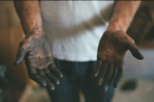 What my hands look like after weeding the garden. We have very black soil.  (But I do not have man hands)