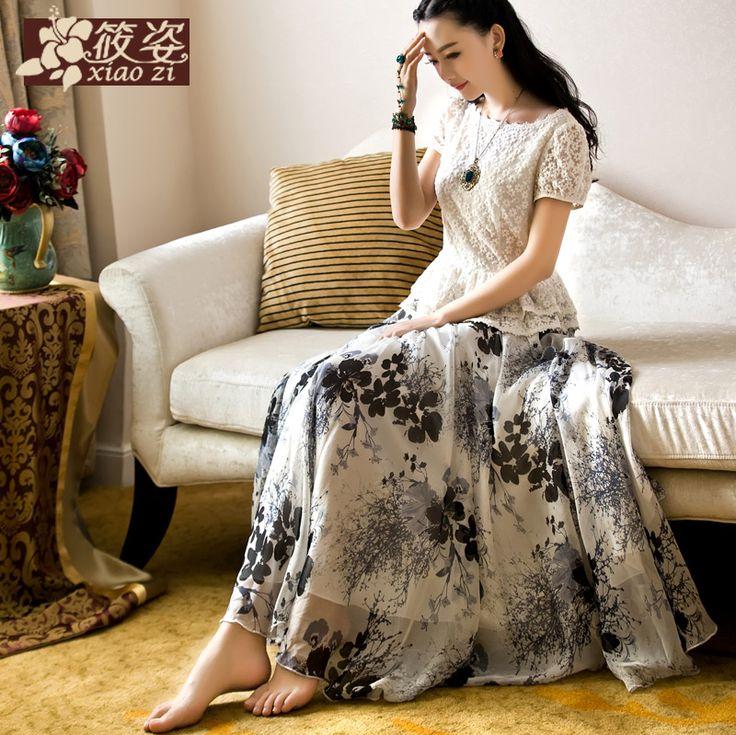 Xiao Xiang Zi 2015 primăvară nouă cerneală vopsea de mătase de teatru rochie de sifon fuste imprimate fusta mare