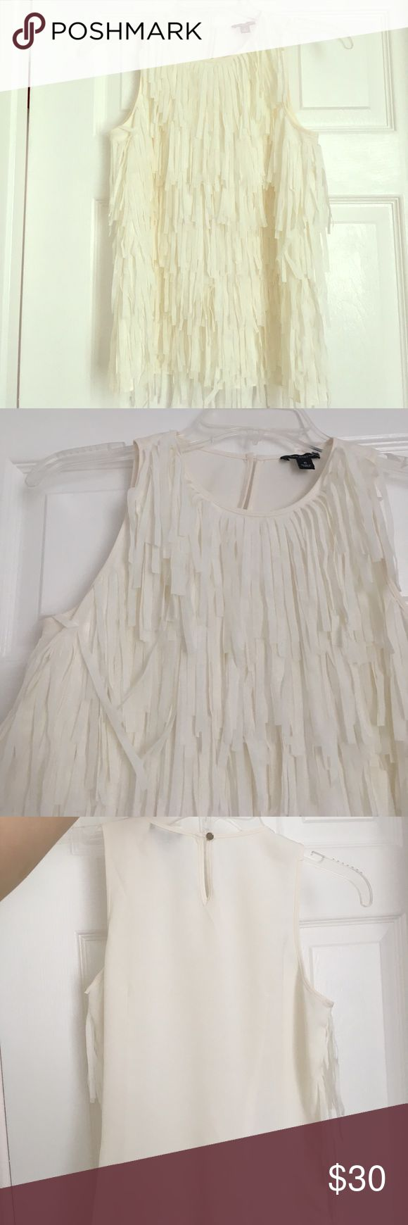 Chiffon fringe top Beautiful!!! Great condition. Ann Taylor Tops Tank Tops