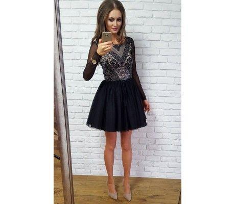 GABRIELLE - Tiulowa sukienka z długim rękawem czarny