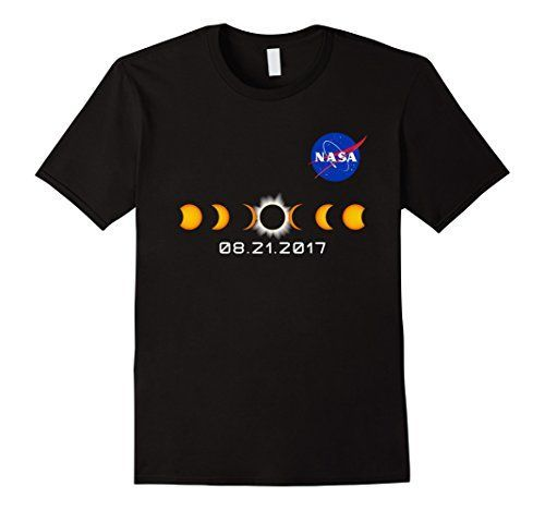 NASA Total Solar Eclipse August 21 2017 T-Shirt Pocket Logo Male Large Black...