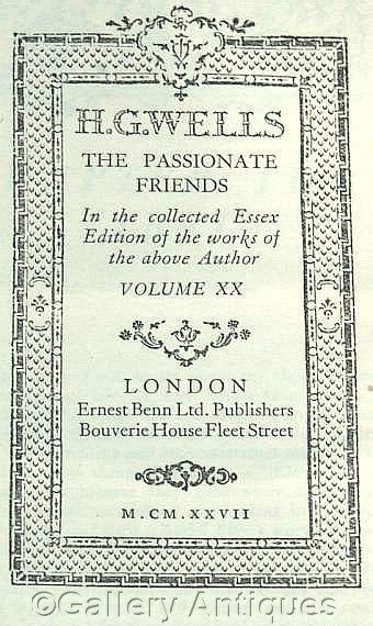 Vintage H G Wells - The Passionate Friends - Collected Essex Edition -- Volume XX - Hardback sci fi Book Published in 1927 (a) by #GalleryAntiques