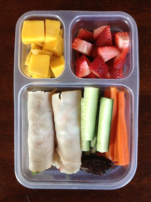 Paleo lunch Turkey & bacon Roll-Ups; Date; Strawberries; Mango; Carrot Sticks; Cucumber Sticks. Maybe substitute mango for pineapple?