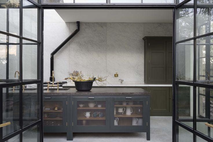 Fossil Stone-topped kitchen island in Plain-English's Mapesbury Estate kitchen…