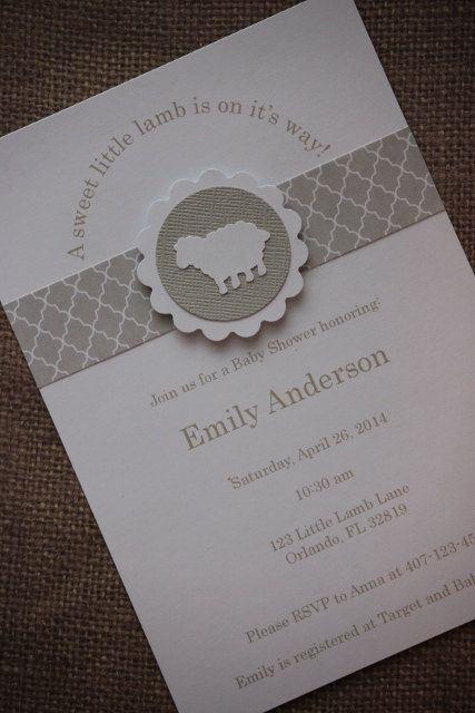 Adorable Handmade Little Lamb Invitations  You will receive:  - 36 Party Invitations - 5x7 - 36 White Envelopes   Please include Name, Age, Occasion, Address and RSVP Name/Number and any Registries. through a message along with payment. Love this theme but not the colour? No problem, customized colours are available at an additional cost, please email me for a quote. Orders will be prepared and shipped within 10-14 days of cleared payment. Rush orders are also available for an additiona...