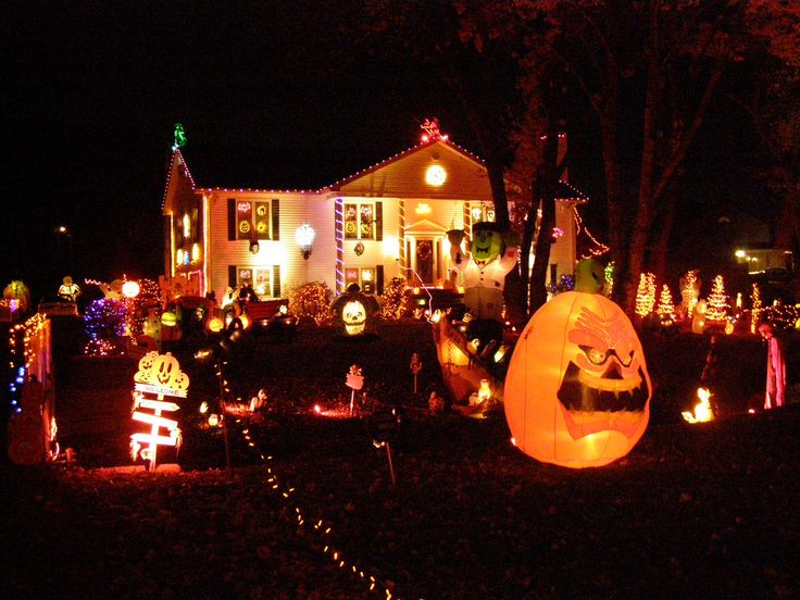 amazing outdoor lighting design for halloween party design with lots of lamp in facade design - Halloween Home Decor Ideas